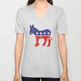 Democrat Original Donkey Distressed Tan Unisex V-Neck