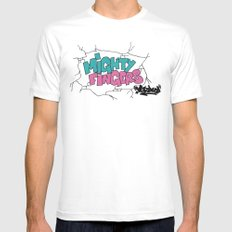mighty fingers White MEDIUM Mens Fitted Tee
