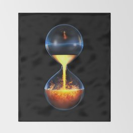 Old flame / 3D render of hourglass flowing liquid fire Throw Blanket