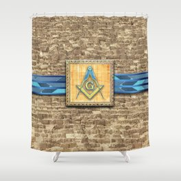 Egyptian Pyramid Square Compass Shower Curtain