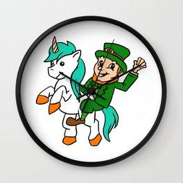 Leprechaun Riding A Unicorn St Patricks Day Wall Clock