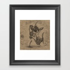 Dancing Mermaid and Skeleton Framed Art Print