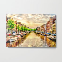 Beautiful sunset in Amsterdam, The Netherlands Metal Print
