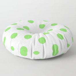 Lime Green Girly Polka Dots Floor Pillow