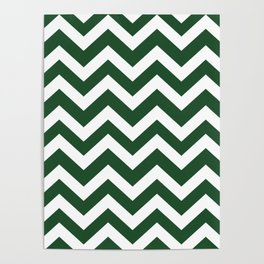 Cal Poly Pomona green - green color - Zigzag Chevron Pattern Poster