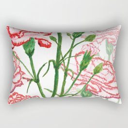 pink and red carnation watercolor painting Rectangular Pillow