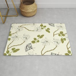 Star Magnolia and Moths Rug