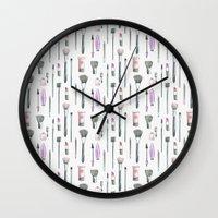 makeup Wall Clocks featuring MAKEUP by Catalina Montaña