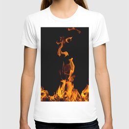 Fire flames on black T-shirt