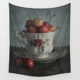 Still life with fresh cherries Wall Tapestry