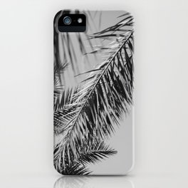 Fronds against the sky black and white iPhone Case