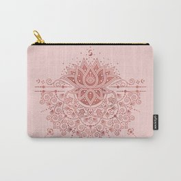 Sacred Lotus Mandala – Rose Gold & Blush Palette Carry-All Pouch