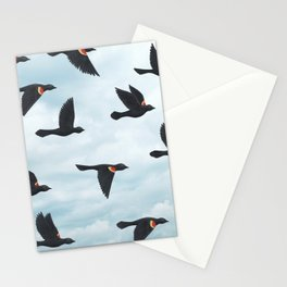 red-winged blackbirds and blue sky Stationery Cards