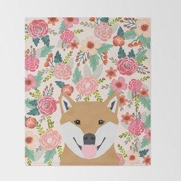 Shiba Inu florals spring summer bright girly hipster dog meme shiba ink puppy pet portraits Throw Blanket