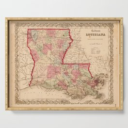 Louisiana Map by J.H. Colton (1855) Serving Tray