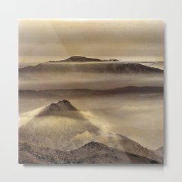 Mist At The Mountains. Painted Photograph Metal Print