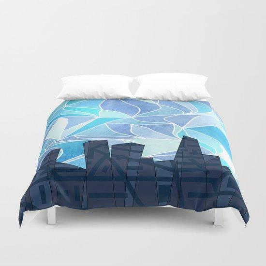 Barruf's Skyline In Blue Duvet Cover