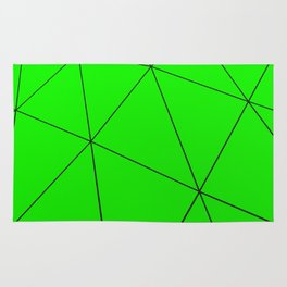 Green low poly displaced surface with black lines Rug