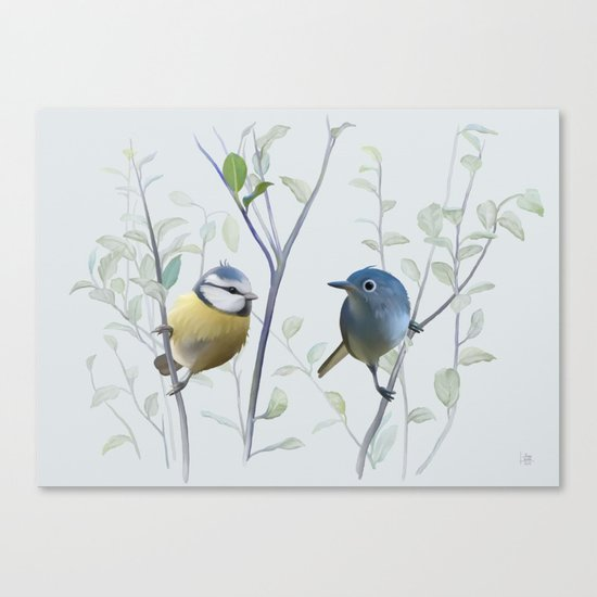 2 birds in tree Canvas Print
