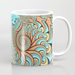 Owl Fractal Turquoise and Orange Coffee Mug