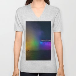 Rainbow Niagara Falls Waterfall (Color) Unisex V-Neck
