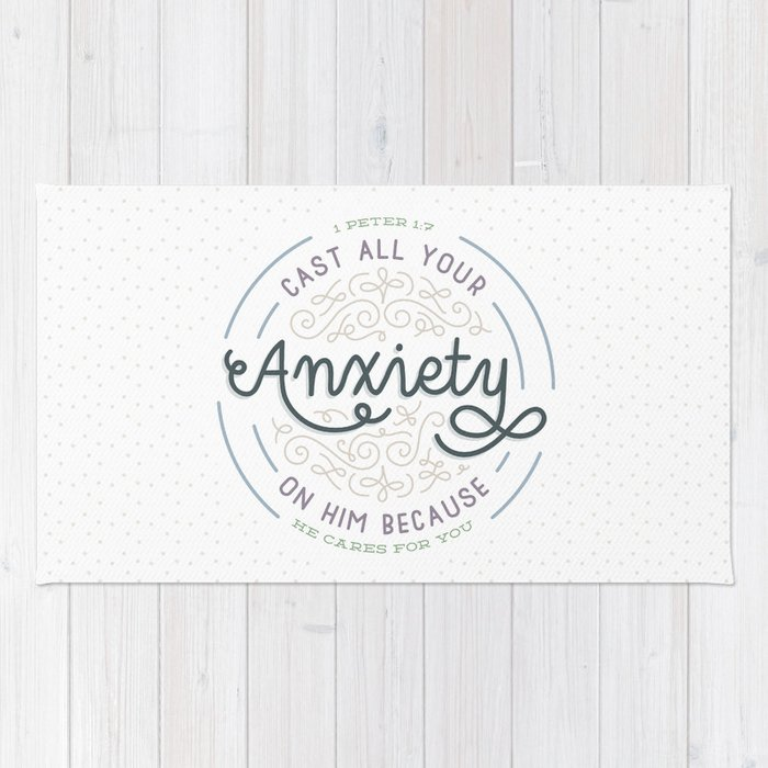 Cast All Your Anxiety On Him Bible Verse Print Rug By Cinacatteau