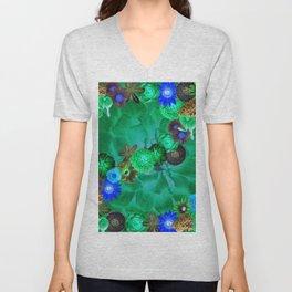 Flower explosion in green and blue Unisex V-Neck