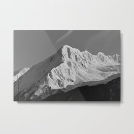 Portage Valley Mountain Glacier - B & W Metal Print