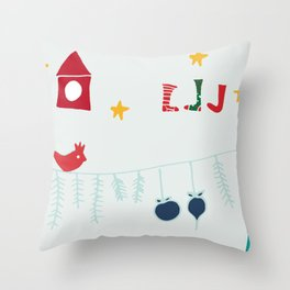 Holiday bird gray Throw Pillow