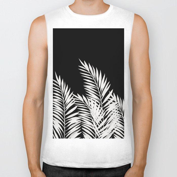 Palm Leaves White Biker Tank