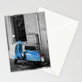 Blue Vespa in Venice Black and White Color Splash Photography Stationery Cards