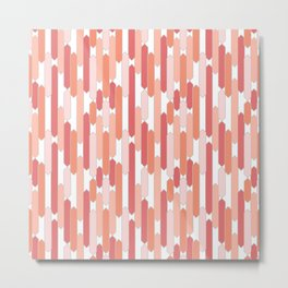 Modern Tabs in Coral and Pink on White Metal Print