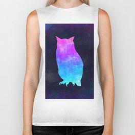 OWL IN SPACE // Animal Graphic Art // Watercolor Canvas Painting // Modern Minimal Cute Biker Tank