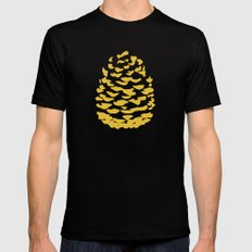 Pinecone Mustard Yellow Black Mens Fitted Tee MEDIUM