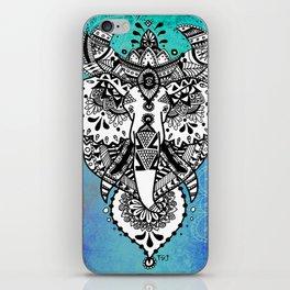 Zentangle Elephant - Blue iPhone Skin