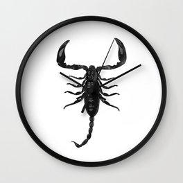 Scorpion Digital Watercolor, Creepy Insect Arachnid, Black and White Wall Clock