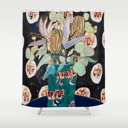 Dark Floral Still Life with Banksia Pods and Tigers Shower Curtain