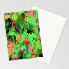Red dots on green Stationery Cards