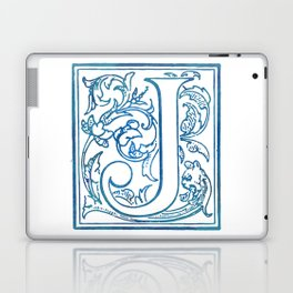 Letter J Elegant Antique Floral Letterpress Monogram Laptop & iPad Skin