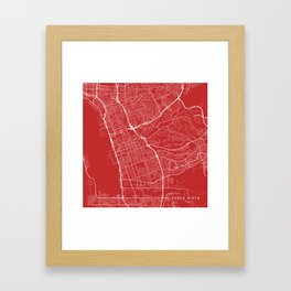 Chula Vista Map, USA - Red Framed Art Print