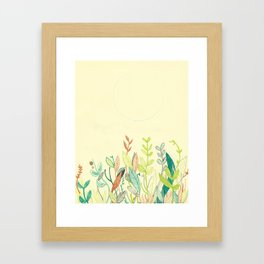 Plants and moon Framed Art Print