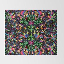 Otomi (Mexican print) - Black Throw Blanket