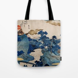 Cottages On Cliffs Traditional Japanese Landscape Tote Bag