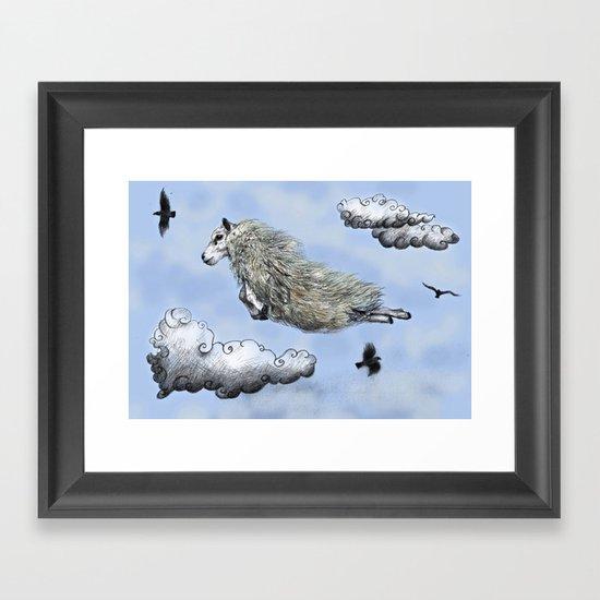 Flying sheep Framed Art Print