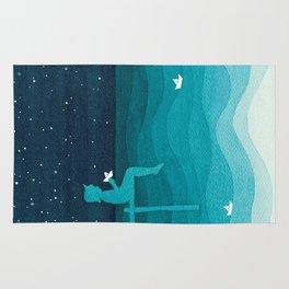 Boy with paper boats, watercolor teal art Rug