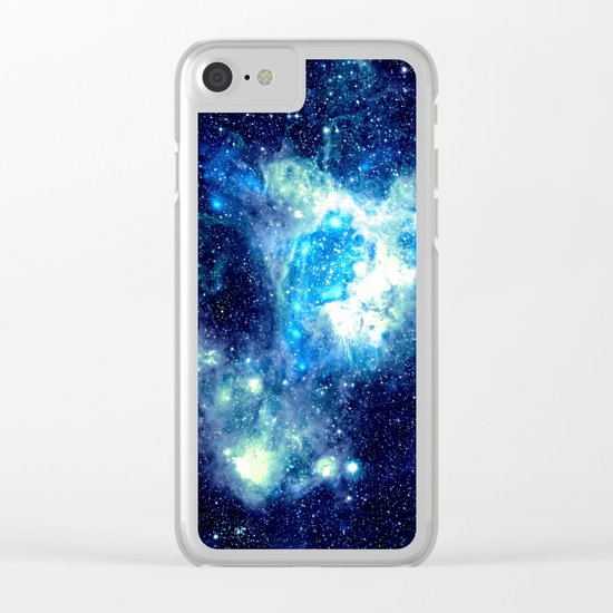 Galaxy NEbula. Teal Turquoise Blue Aqua Clear iPhone Case