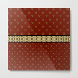 Gold Red X ribbon Pattern Design Metal Print