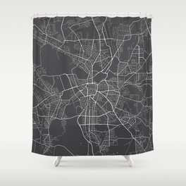 Leipzig Map, Germany - Gray Shower Curtain