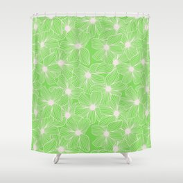 02 White Flowers on Green Shower Curtain