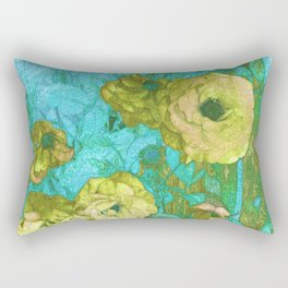 Yellow Roses Aqua Green Rectangular Pillow